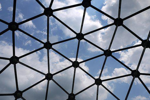 Mesh, Network, Architecture, Polyhedron, Clouds, Sky