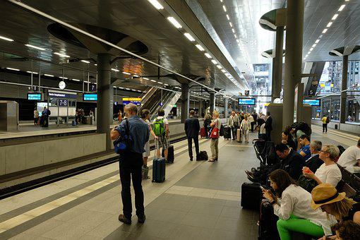 Railway Station, Wait, Train, Railway, Transport, Human