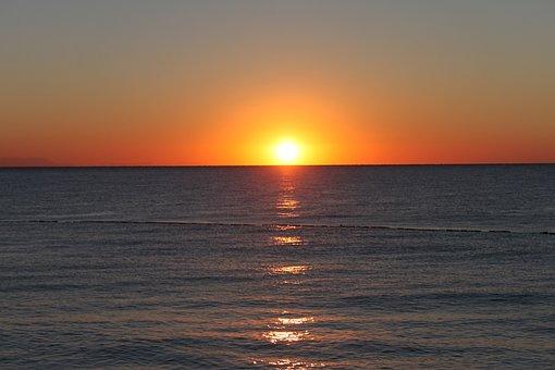 Sunrise, Sea, Sky, Ocean, Water, Summer, Holiday, Rest