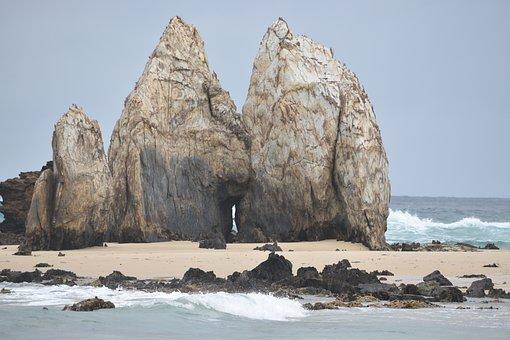 Rocks, Rocks On The Beach, Penguin Rocks, Waves, Beach
