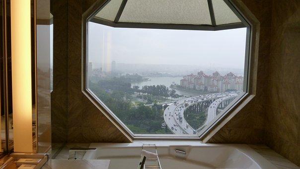 Hotel, Window, Skyline, Room, Living, Luxury