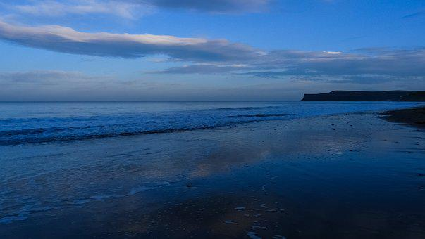 Sea, Ocean, Saltburn, Cliffs, Waves, Blue, Nature