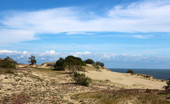 Sky, Blue Sky, Clouds, Sand, The Bushes, Shrub, Sea