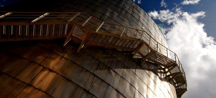 Industry, Stairs, Tank, Sky, Clouds