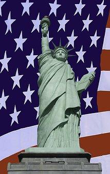 Statue, Liberty, United, States, Flag, Stars, Stripes