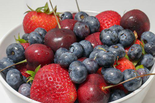 Bowl, Blueberries, Fresh, Cherries, Strawberries
