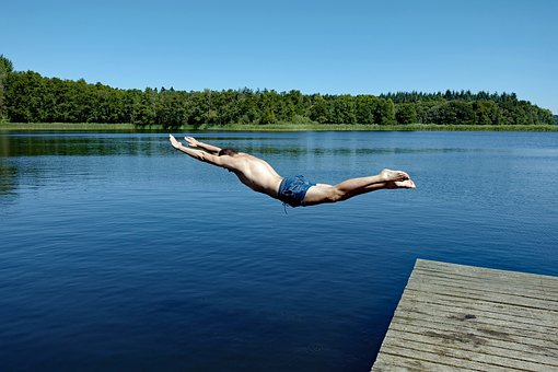 Badesee, Plunge, Lake, Swim, Summer, Jump, Water