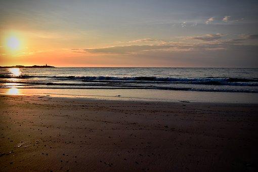 Sunset, Beach, Wave, Water, Clouds, Sea, Ocean, Summer