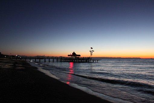 Sea Bridge, Sunrise, Web, Water, Beach, Sea