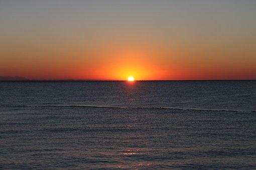 Sunrise, Sea, Horizon, Ocean, Sky, Summer, Holiday