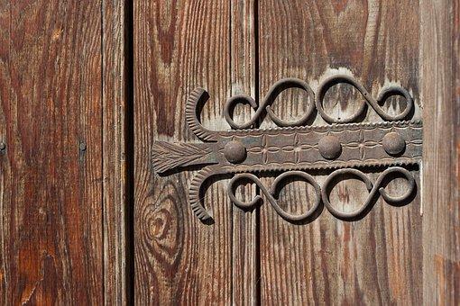 Door, Item, Ornament, Metal, Old, Tree, Entrance