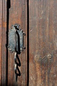 Door, Handle, Metal, Old, Tree, Entrance, Ornamentation