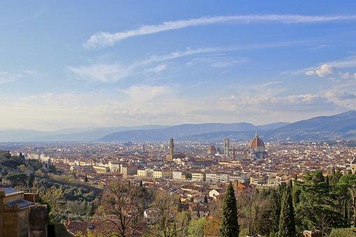 Florence, San Miniato, Sky, Blue, Tuscany, Basilica