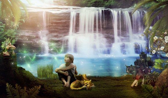 Waterfall, Child, Girl, Elf, Cat, Dragon, Water