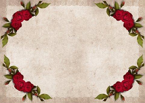 Frame, Roses, Background, Vintage, Flowers, Red Roses