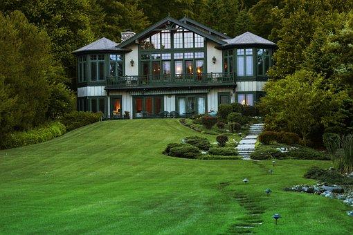 Lake Geneva, Lakeshore, Path, Beautiful, House, Summer