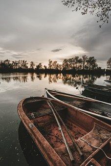 Boat, Lake, Fishing Boat, Fishing, Sunset, Paddle