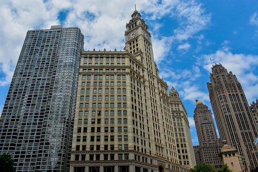 Clock, Church, Chicago, Building, Sky, Steeple