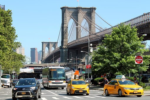 Bridge, Taxi, Cab, Taxicabs, Brooklyn Bridge, Manhattan