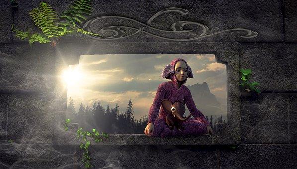 Fantasy, Window, Child, Sit, Wall, Light, Sun, Plant