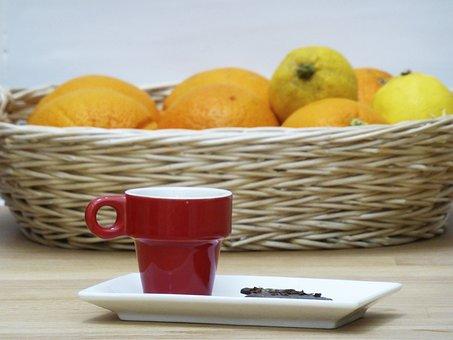 Coffee, Cup, Red, Chocolate, Fruit, Breakfast, Orange