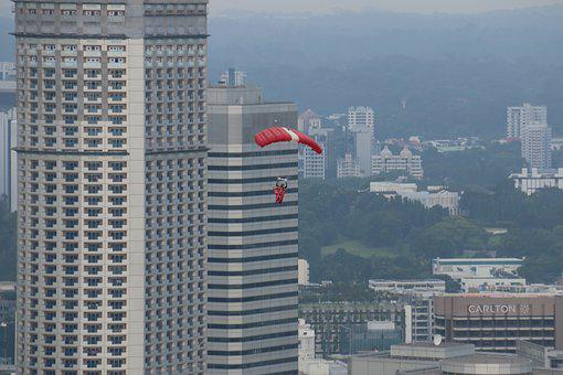 Courage, Height, Skyscrapers, Parachute, Jump, City