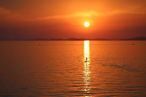 Paddle Board, Sunset, Croatia, Dalmatian Coast, Woman