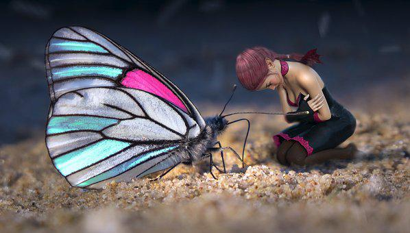 Fantasy, Butterfly, Girl, Elf, Sand, Sit, Worship