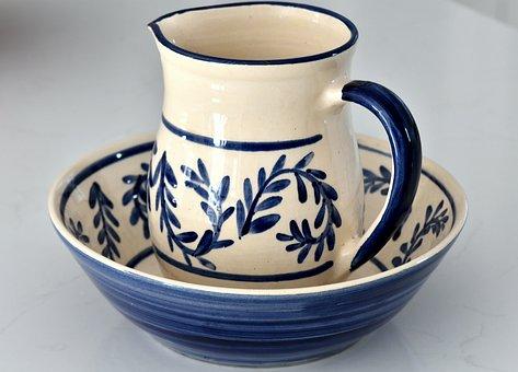 Jug, Bowl, Washing, Ceramic, Glazed, Pottery