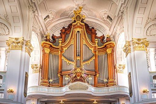 Pipe, Organ, Church, Michel, Hamburg, Cathedral, Gold