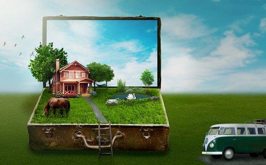 Luggage, Home, Bulli, Meadow, Trees, Hammock, Lake