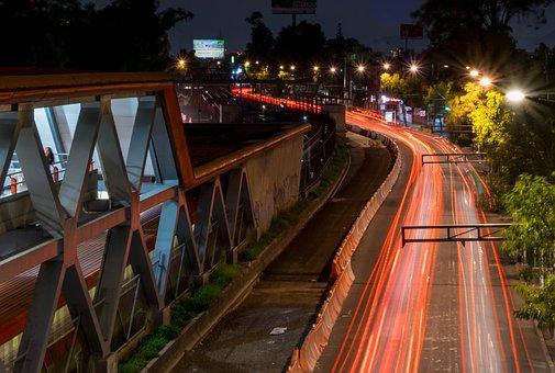 Night, Dark, Road, Long, Lights, Spotlights, Landscape