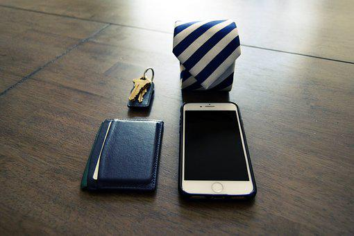Tie, Keys, Wallet, Phone, Iphone, Work, Man, Male