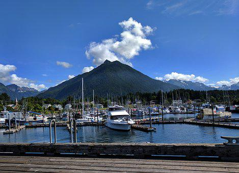 Crescent Harbor, Sitka, Harbor, Boats, Water, Mountains