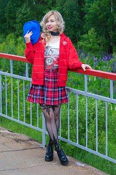 Girl, School Skirt, Cap, Stockings, Nature, Elektrichka