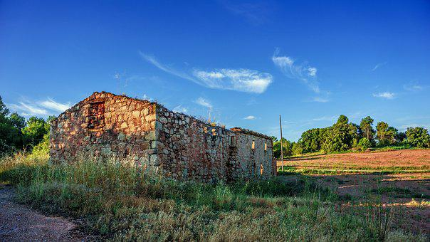 Landscape, House, Ruins, Rural, Forest, Nature, Country
