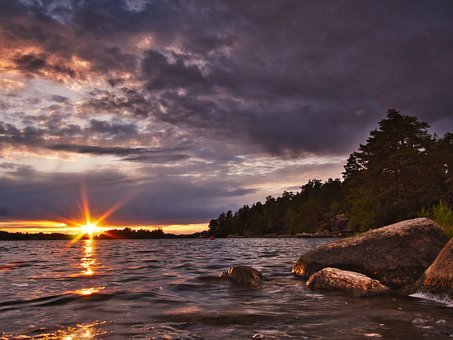 Sea, Sunset, Ocean, Water, Sky, Nature, Evening