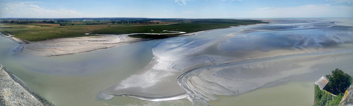 Mont, Saint, Michel, Sea, River, River Mouth