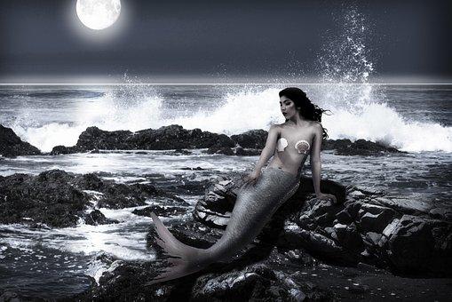 Mermaid, Moon, Ocean, Sea, Moonlight, Spray, Fantasy