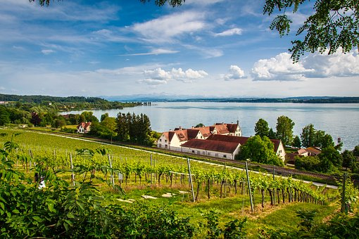 Lake Constance, The Monastery Of Birnau, Water, Summer