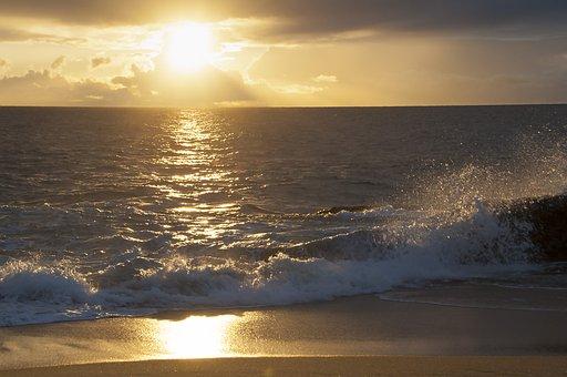 Ocean, Waves, Sunset, Sea, Surf, Spray, Pacific