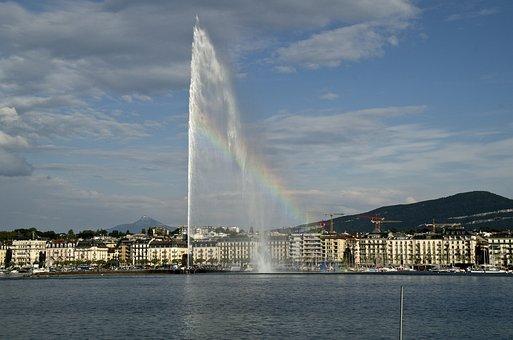 Lake, Geneva, Switzerland, Landscape, Mountains, Sky