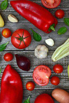Vegetables, Tomatoes, Pepper, Red, Wood, Mood, Healthy