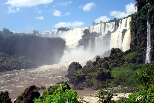 Iguassu, Brazil, Waterfall, Nature, Spray, Argentina