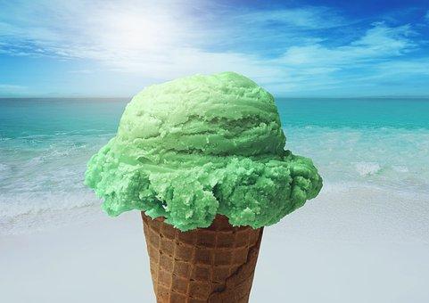 Ice, Sun, Beach, Sea, Wave, Hot, Ice Cream Cone