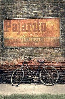 Bicycle, Wall, Old, Vintage, Retro, Wheels, Painting