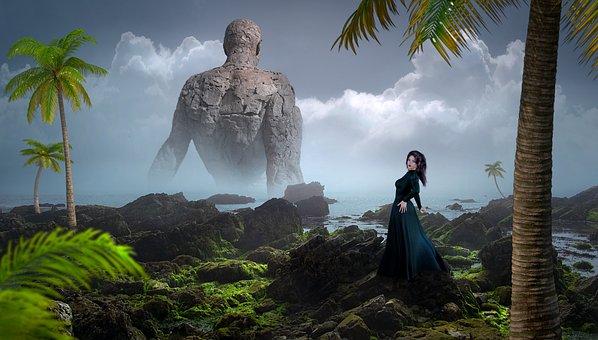 Fantasy, Landscape, Stones, Palm Trees, Woman, Statue