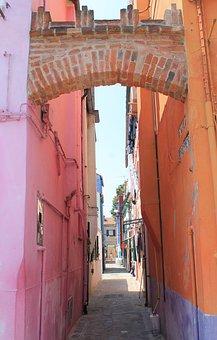Alley, Colorful, Burano, Venice, Orange, Pink, Italy