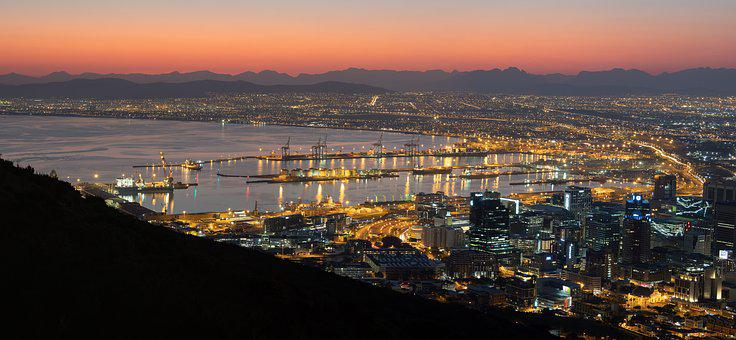 Table Bay, Harbour, Dawn, Cape Town, City, Night, Sky