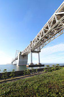 Landscape, Seto Ohashi Bridge, Sea, Clear Skies